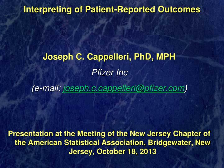 interpreting of patient reported outcomes n.