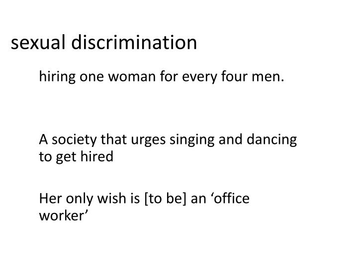 sexual descrimination essay Sex discrimination essay - introduction discrimination involves action toward individuals on the another term is sexual differentiation, which exists in almost all countries on over the world although.