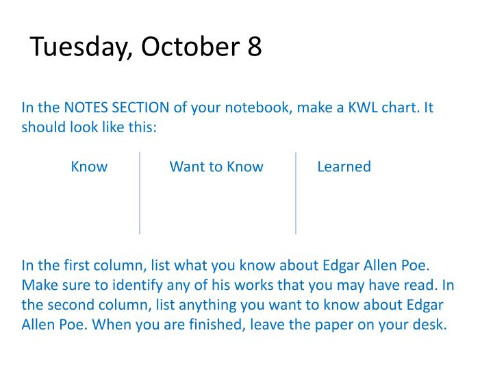tuesday october 8 n.