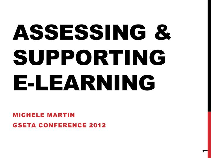 assessing supporting e learning n.