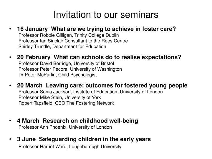 Invitation to our seminars