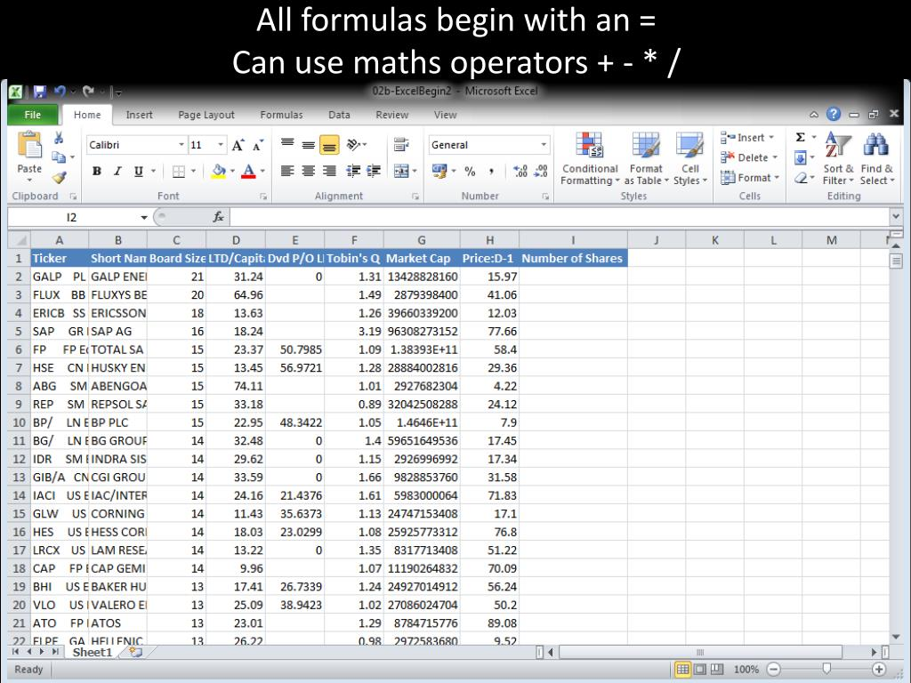 PPT   Excel Formulas PowerPoint Presentation, free download   ID ...