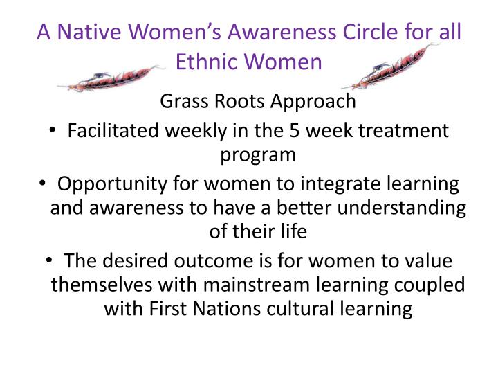 A Native Women's Awareness Circle for all Ethnic Women