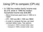 using cpi to compare cpi xls