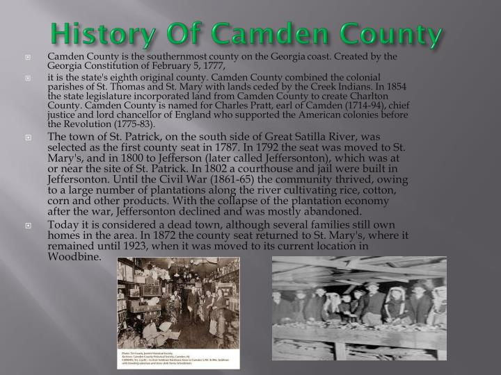 History of camden county