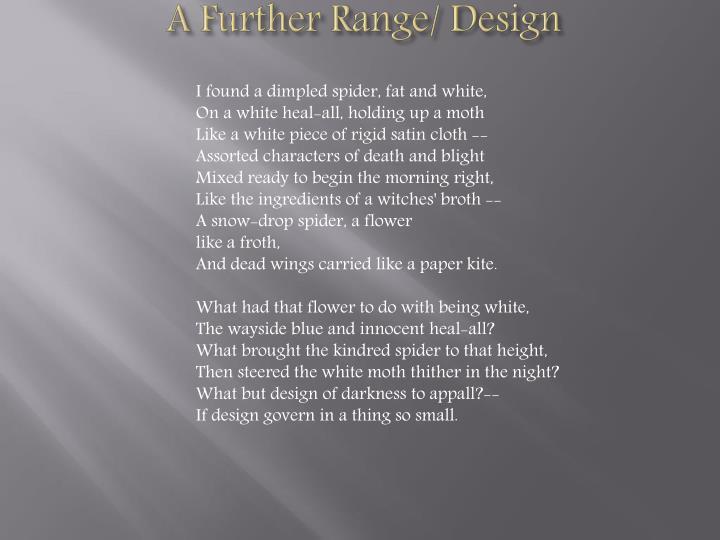 A Further Range/ Design