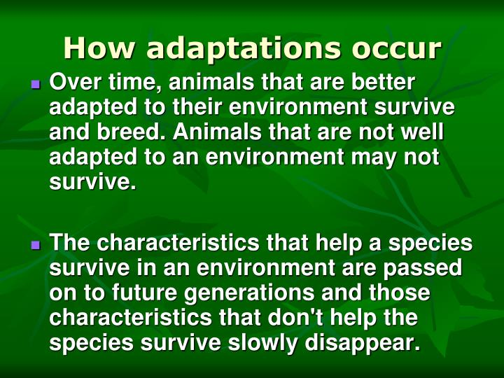 How adaptations occur