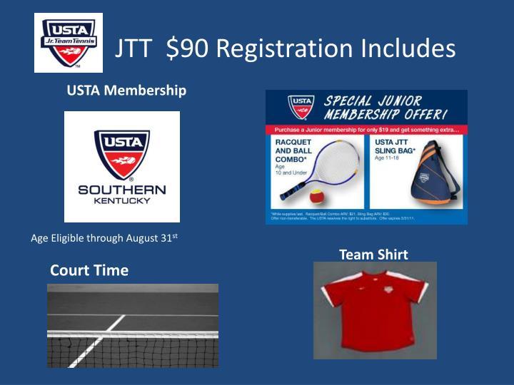 JTT  $90 Registration Includes