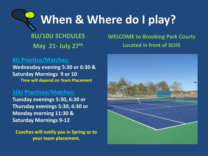 When & Where do I play?