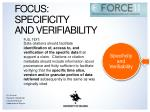 focus specificity and verifiability