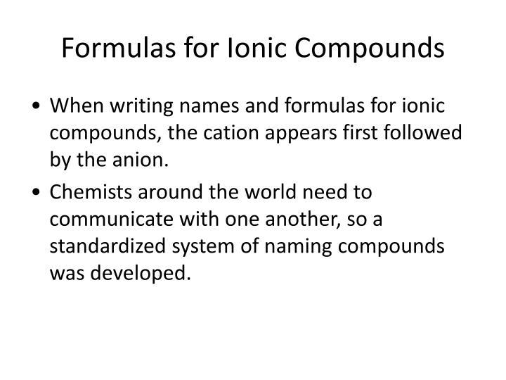 Formulas for Ionic Compounds