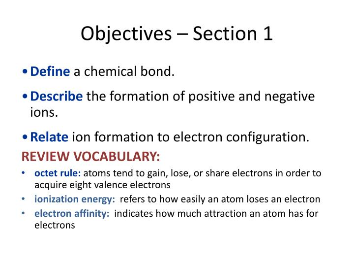 Objectives – Section 1