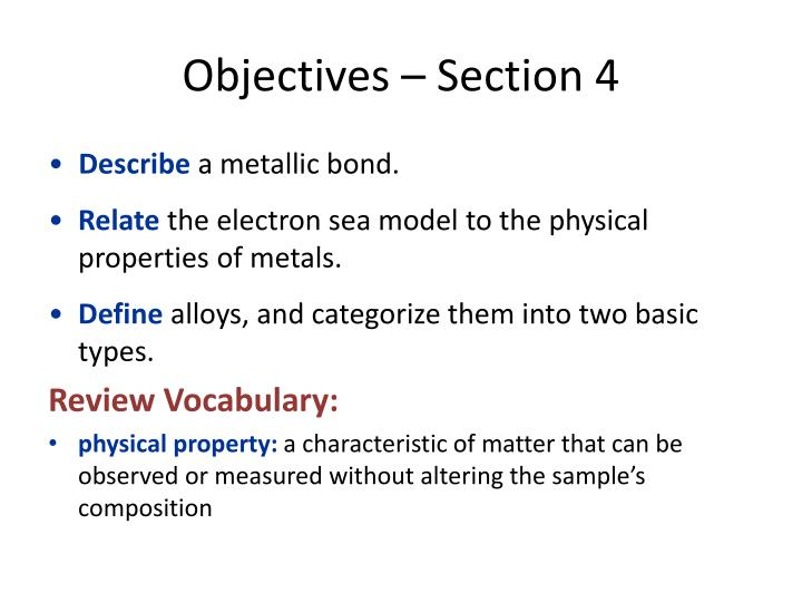 Objectives – Section 4