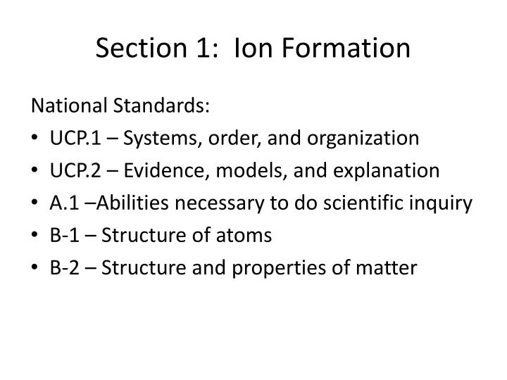 Section 1:  Ion Formation