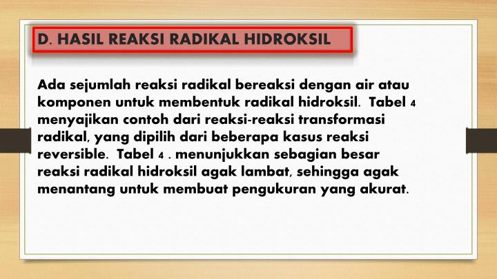 D. HASIL REAKSI RADIKAL HIDROKSIL