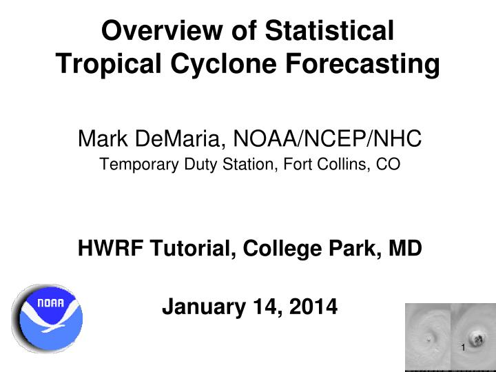 overview of statistical tropical cyclone forecasting n.