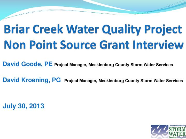 briar creek water quality project non point source grant interview n.
