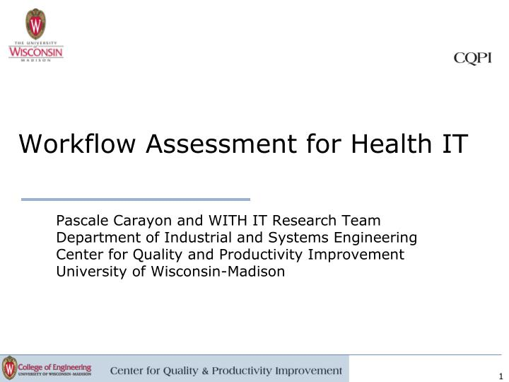 workflow assessment for health it n.