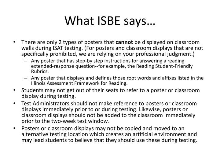 What ISBE says…