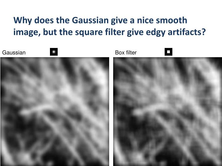 Why does the Gaussian give a nice smooth image, but the square filter give edgy artifacts?