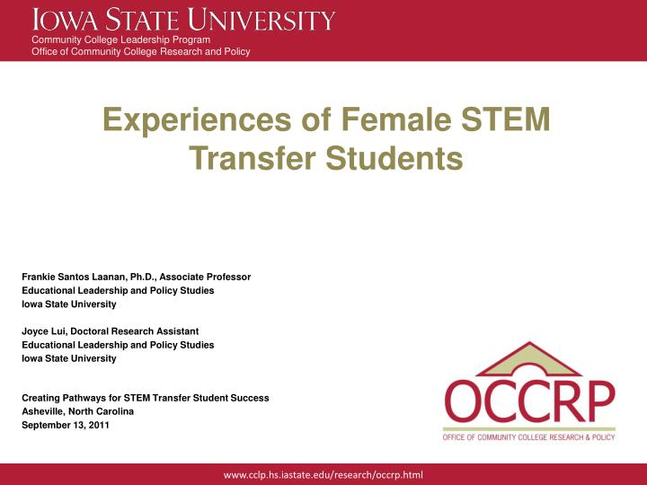 experiences of female stem transfer students n.