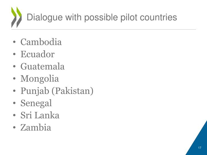 Dialogue with possible pilot countries