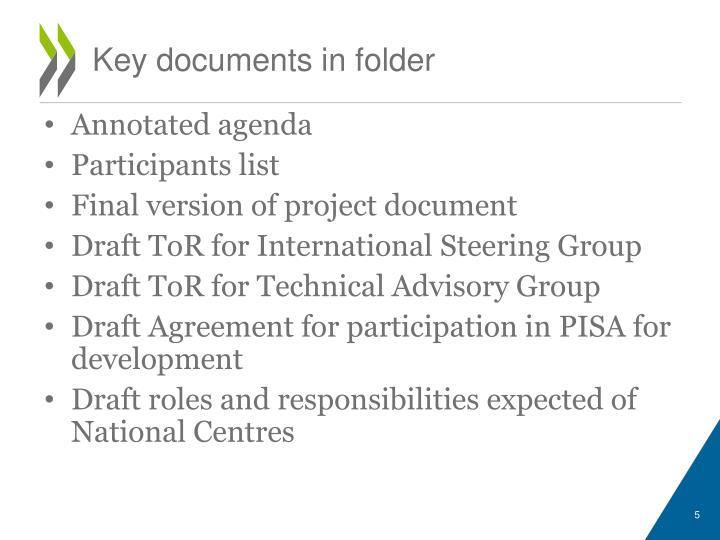 Key documents in folder