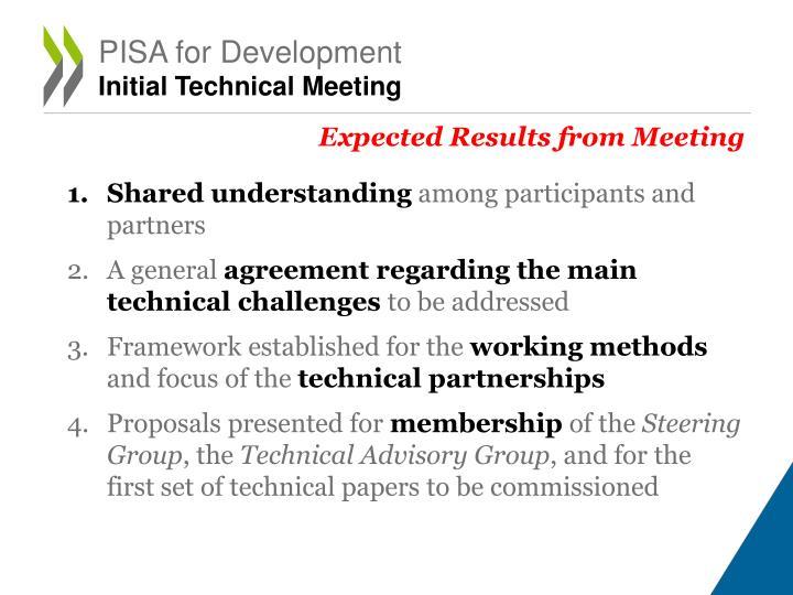 Pisa for development initial technical meeting