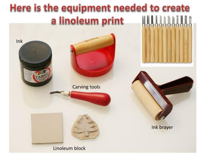 A Linoleum Print Ink Carving Tools