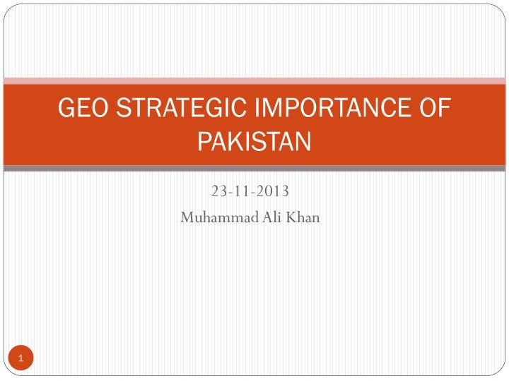 geo strategic importance of pakistan n.