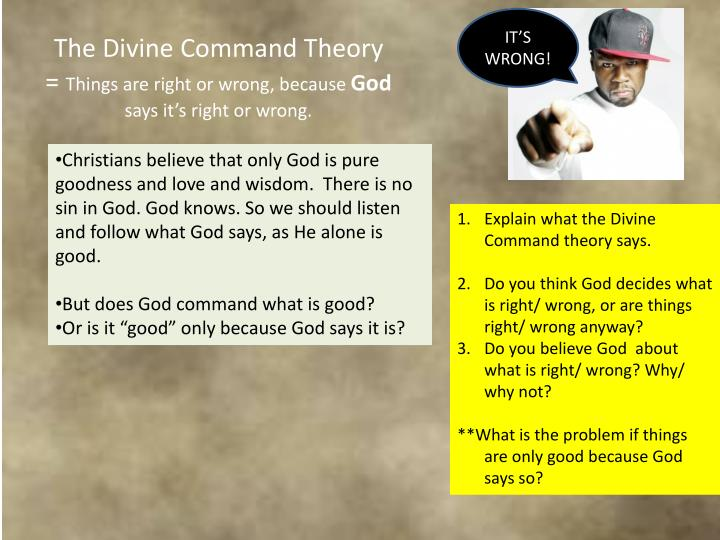an overview of the divine command theories in different religions Divine command theory (dct) is the idea that morality is grounded in god or god's nature such that what god commands is necessarily morally good historically speaking, the euthyphro dilemma has been used to combat such a position.