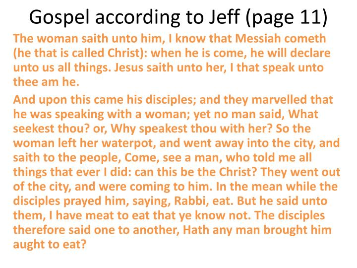 Gospel according to Jeff (page 11)