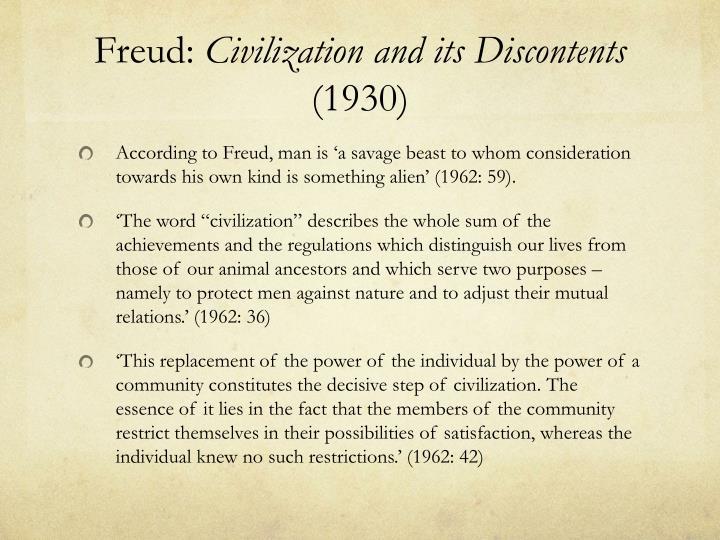 Freud civilization and its discontents 1930