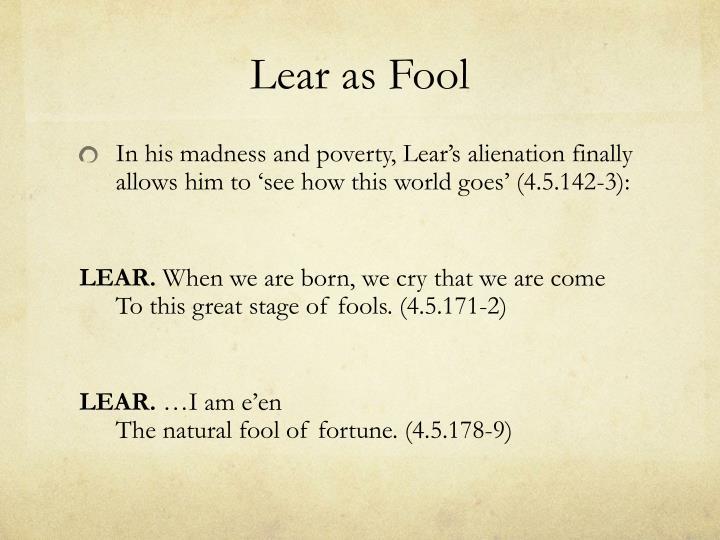Lear as Fool