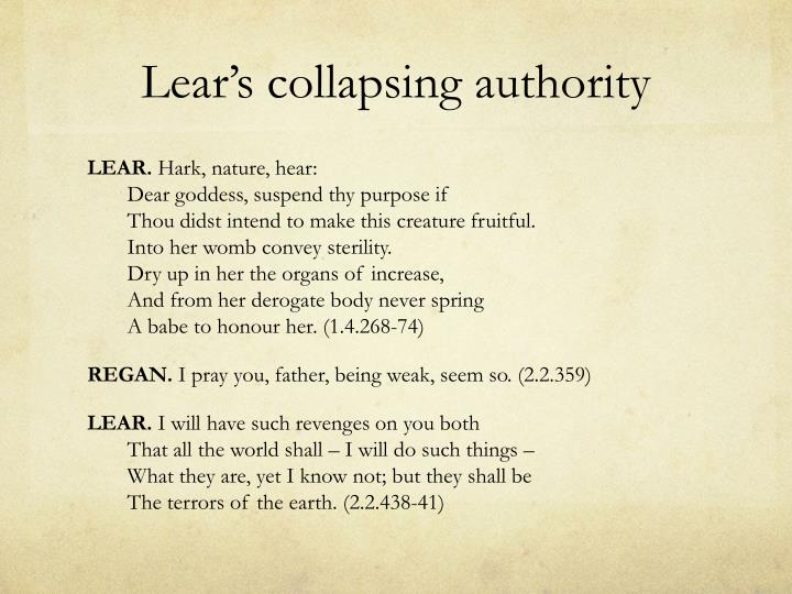 Lear's collapsing authority