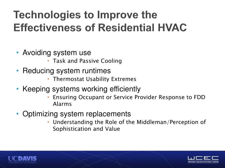 Technologies to Improve the Effectiveness of Residential HVAC