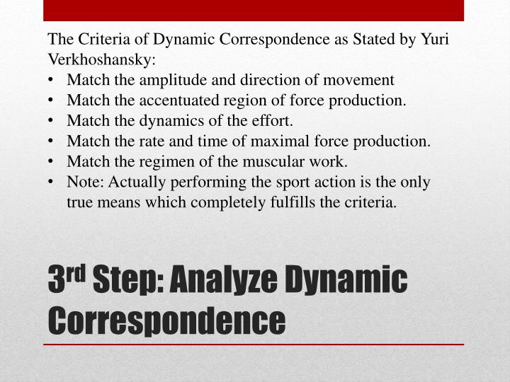 The Criteria of Dynamic Correspondence as Stated by Yuri