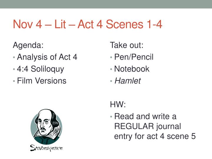 analysis of act iv scene i Act 4, scene 7 summary the battle: agrippa sounds a retreat antony, scarus and eros talk of victory act 4, scene 7 analysis this short scene shows the balance of power.