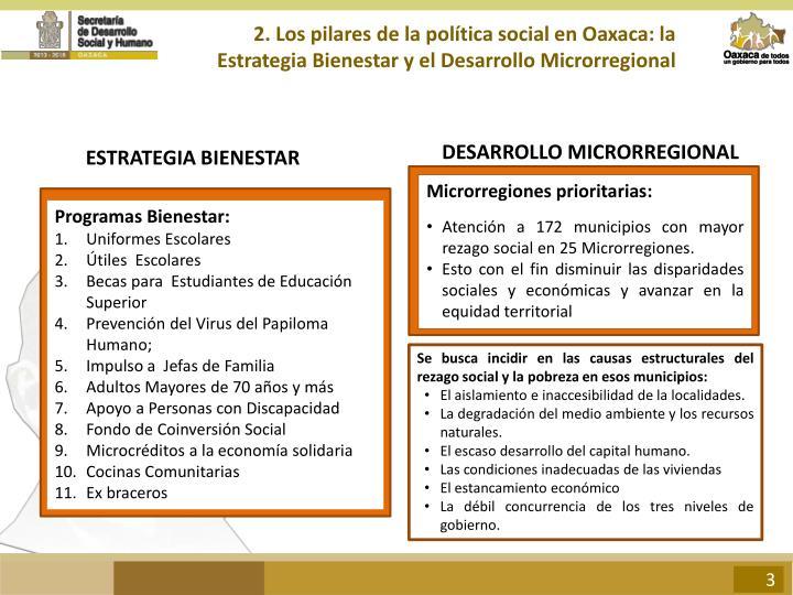 2. Los pilares de la política social en Oaxaca: la Estrategia Bienestar y el Desarrollo