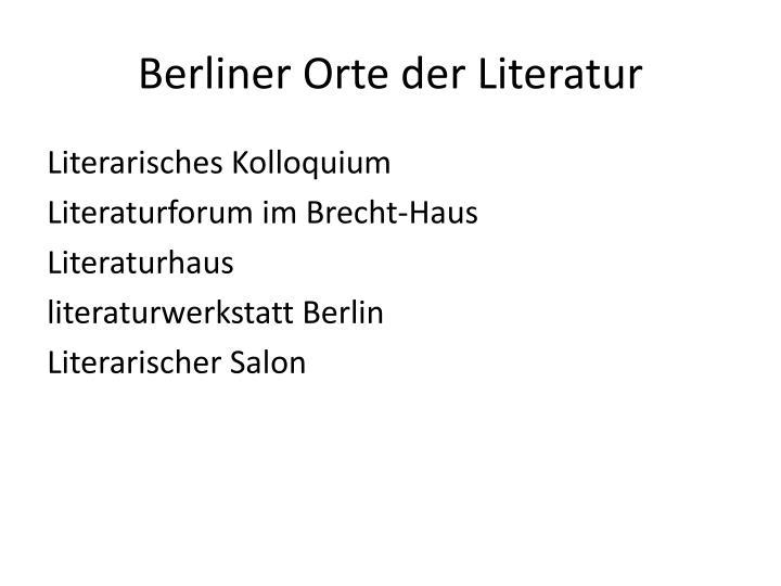 Berliner orte der literatur