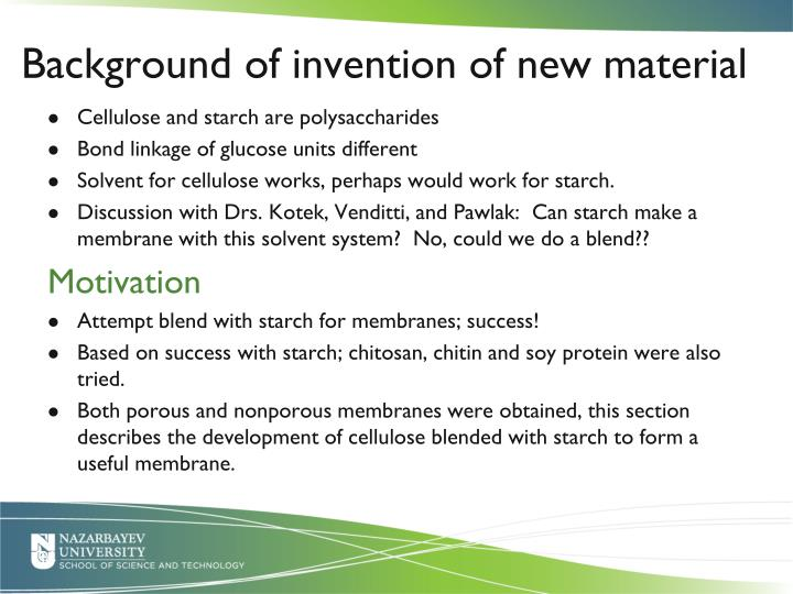 Background of invention of new material