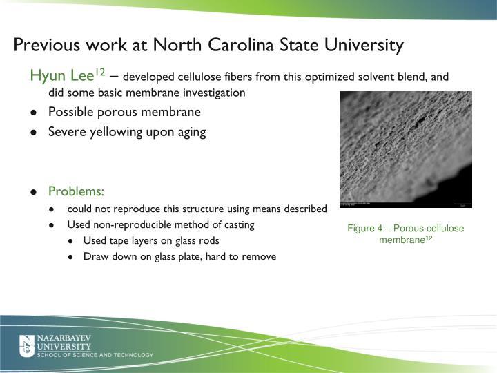 Previous work at North Carolina State University