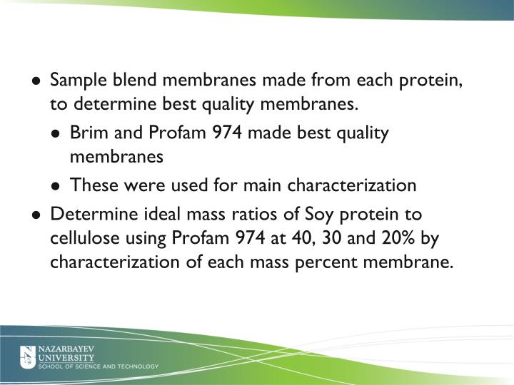 Sample blend membranes made from each protein, to determine best quality membranes.