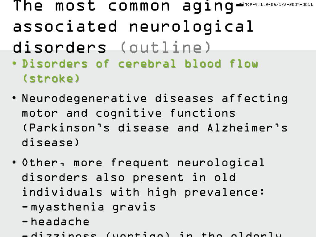 PPT - Neurological disorders in the elerly Part I PowerPoint