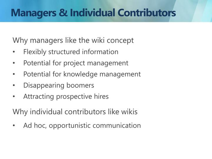 Managers & Individual Contributors