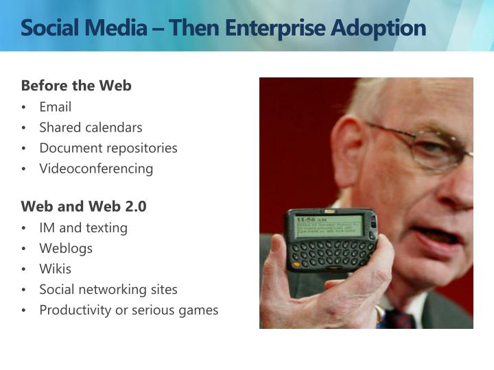 Social Media – Then Enterprise Adoption