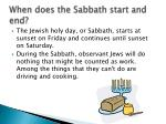 when does the sabbath start and end