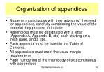 organization of appendices
