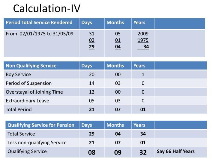 Calculation-IV