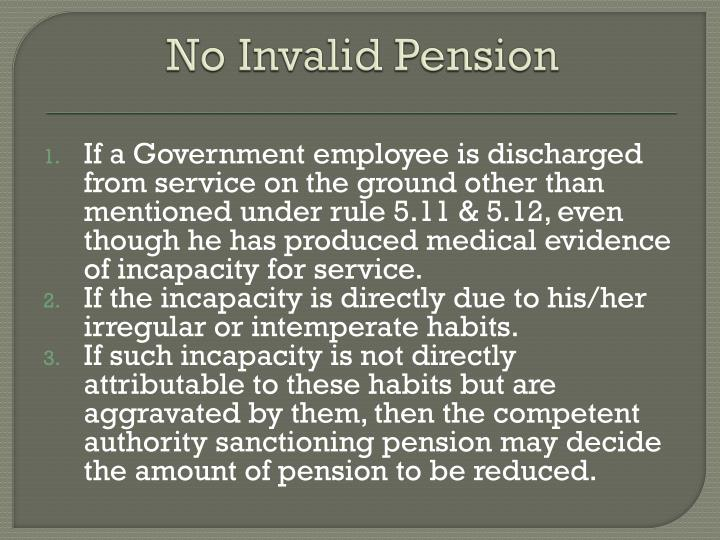 No Invalid Pension
